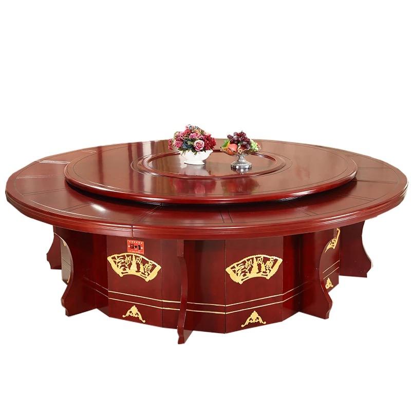 国产定制大圆桌酒店宴会桌12人位餐桌含12张椅子(张)