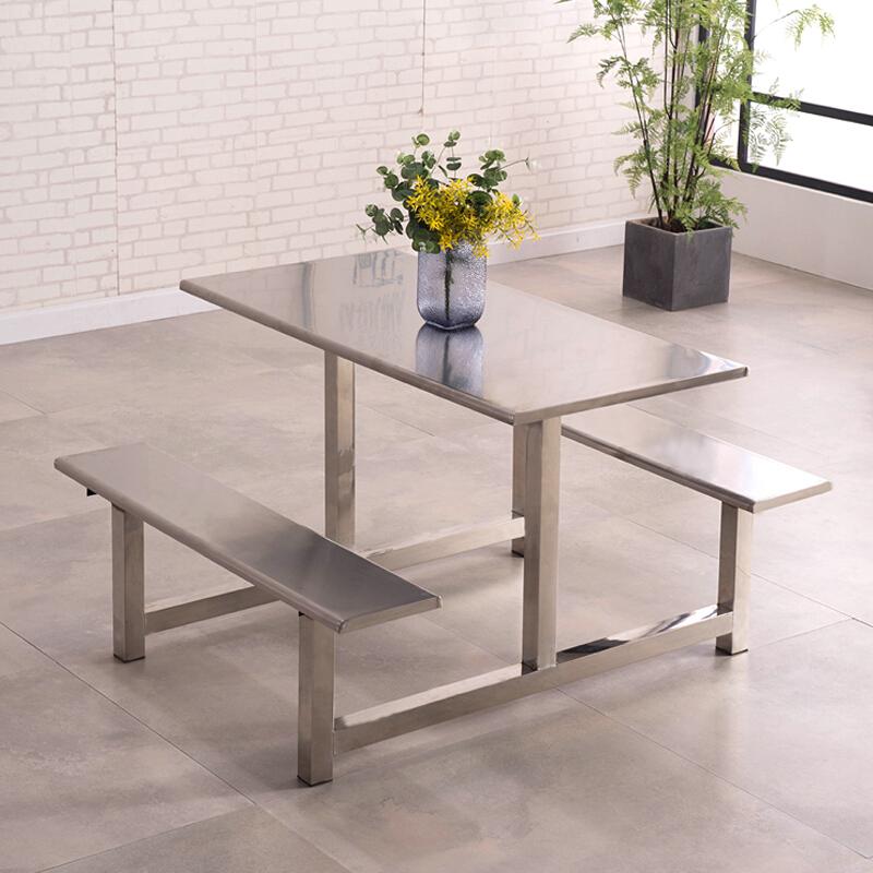 欧宝美 HKH-00111食堂餐桌椅连体四人位120*140*75不锈钢(单位:套)