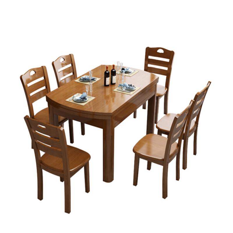 博采定制长方形饭桌1.3x0.8米 1桌6椅(全实木)(套)