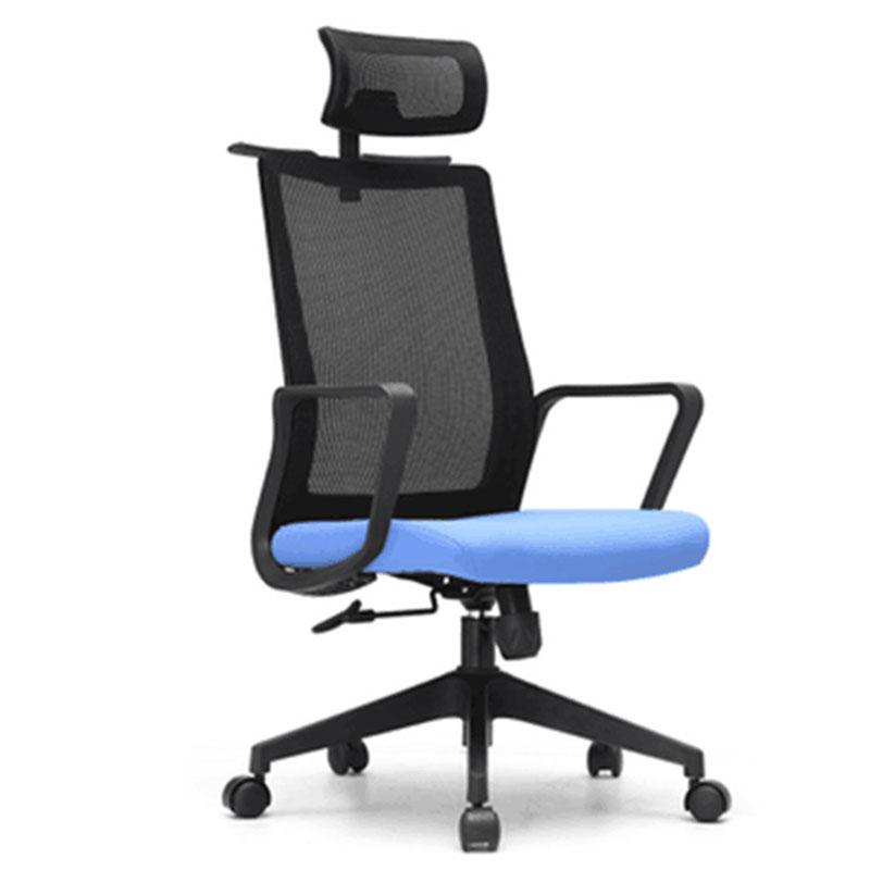 洛克菲勒LK-CH6801A高背黑色网椅主管椅带头枕650*680*1185-1265mm(把)
