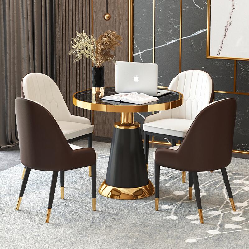 捷时越 轻奢桌椅简约会客接待室休闲区座椅一桌四椅( 圆桌直径70CM+4把椅子)(套)