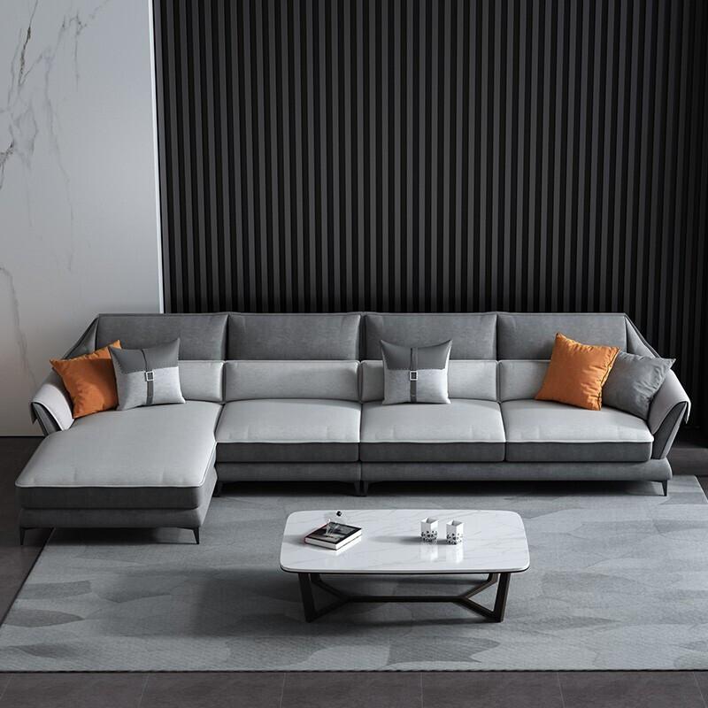 初庭 布艺沙发现代大小户型客厅沙发组合家具 双人+单人+贵妃 3.2米(套)