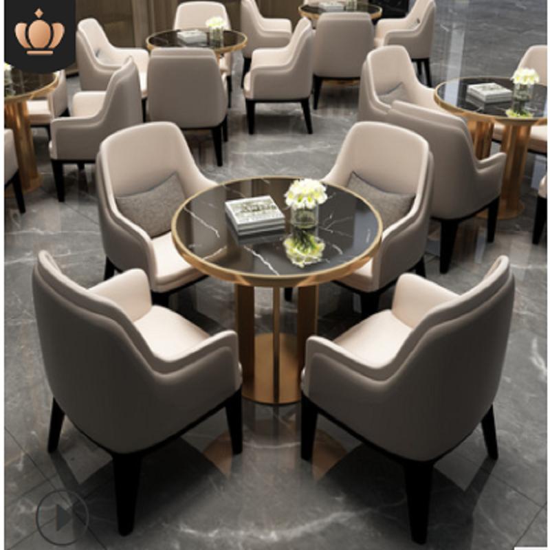 博采一桌四椅黑色款洽谈桌椅组合酒店会所展厅接待桌椅(套)