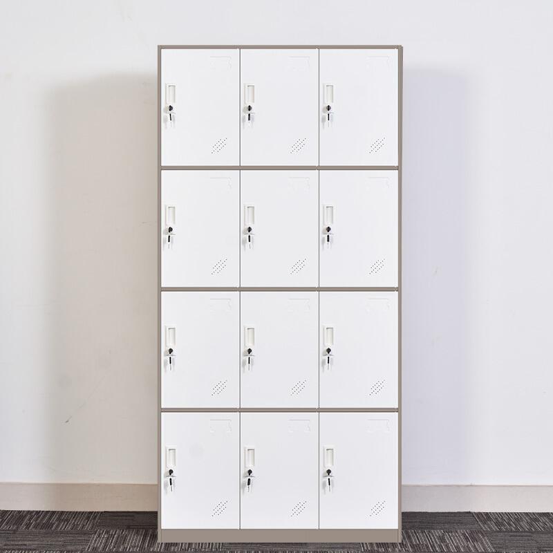 钱柜更衣柜铁皮柜员工柜储物柜多门柜存包柜鞋柜拆装 十二门更衣柜灰白套色(台)
