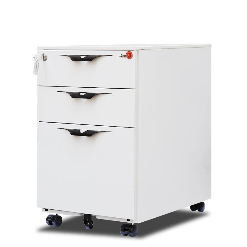 钱柜 三屉活动柜矮柜储物柜办公文件柜铁皮柜小型挂劳资料柜白色(台)