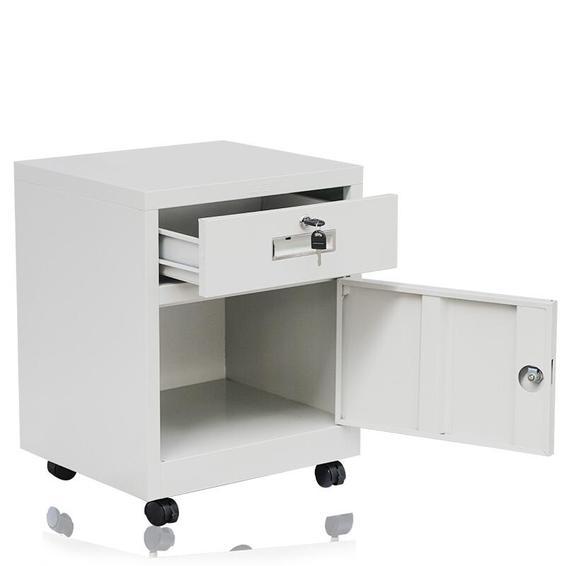 钱柜钢制矮柜储物柜带轮可移动迷你小床头柜带锁抽屉资料柜 雅白550灰白(台)