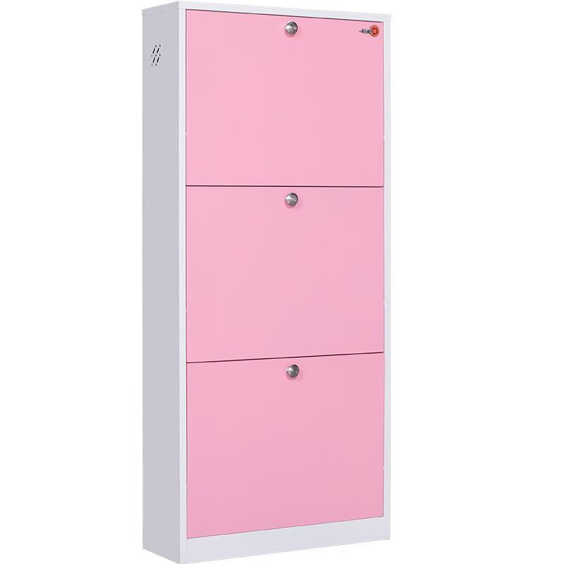 钱柜 鞋柜钢制鞋架多层简易防尘阳台收纳柜 翻斗鞋柜 粉色粉色(台)