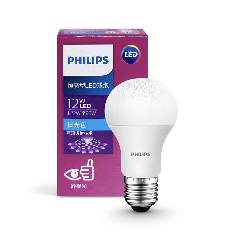飞利浦 E27-12W-6500K白光LED灯泡12只/箱(单位:箱)